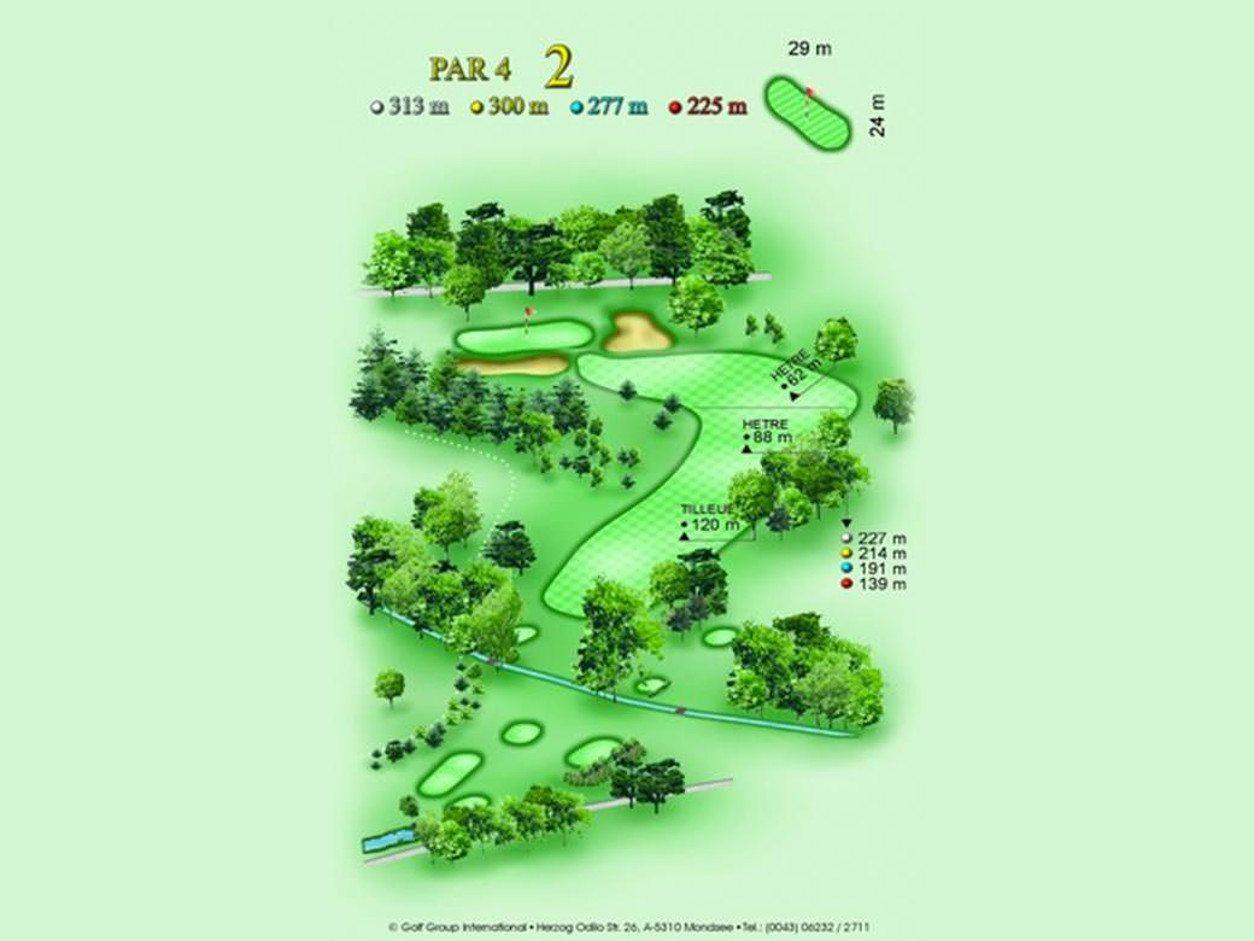 détail parcours golfique trou numero 2 Golf & Country Club de Bonmont
