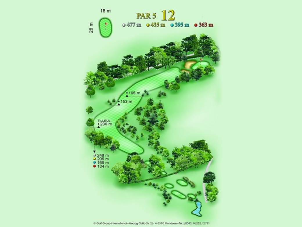 détail parcours golfique trou numero 12 Golf & Country Club de Bonmont