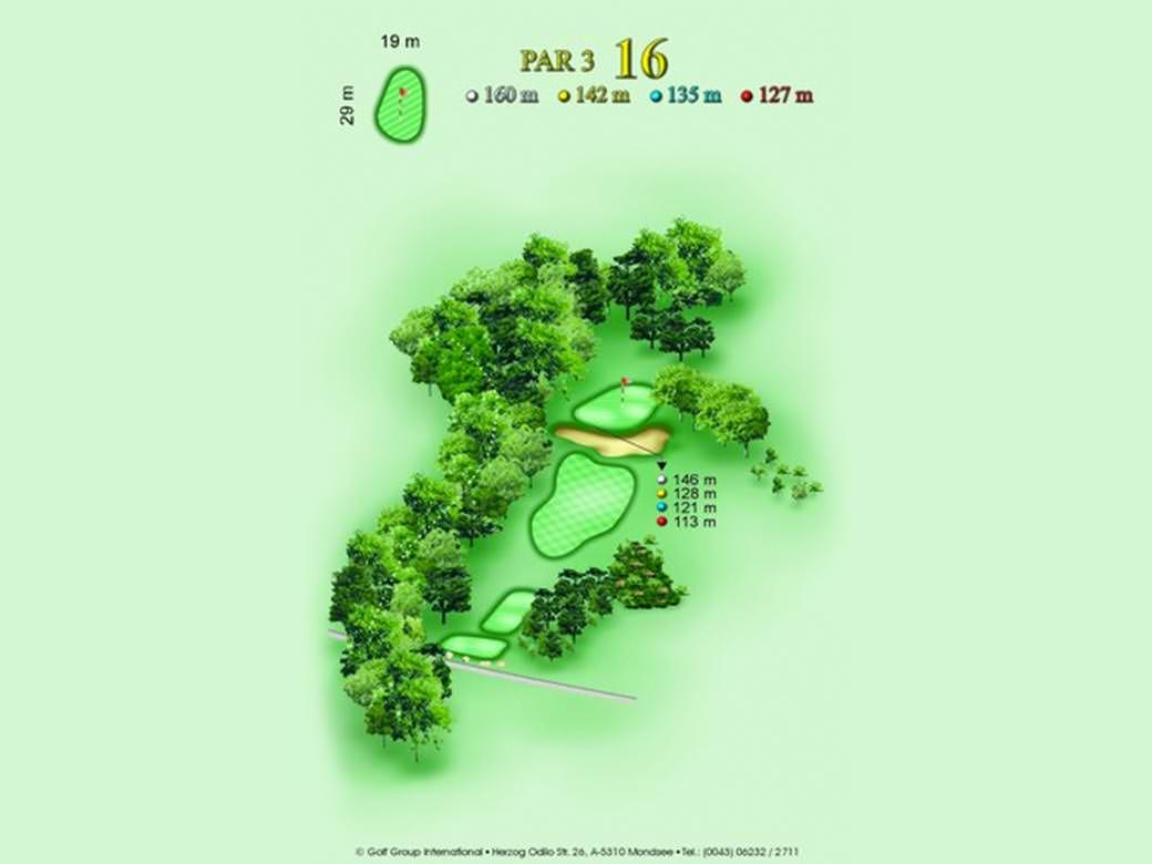 détail parcours golfique trou numero 16 Golf & Country Club de Bonmont