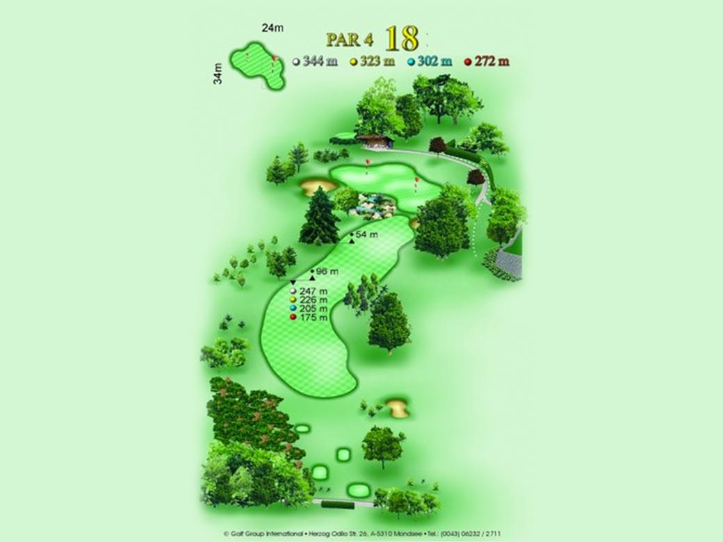 détail parcours golfique trou numero 18 Golf & Country Club de Bonmont