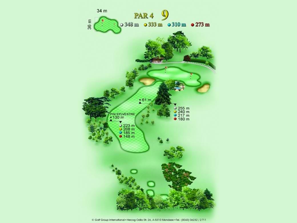 détail parcours golfique trou numero 9 Golf & Country Club de Bonmont