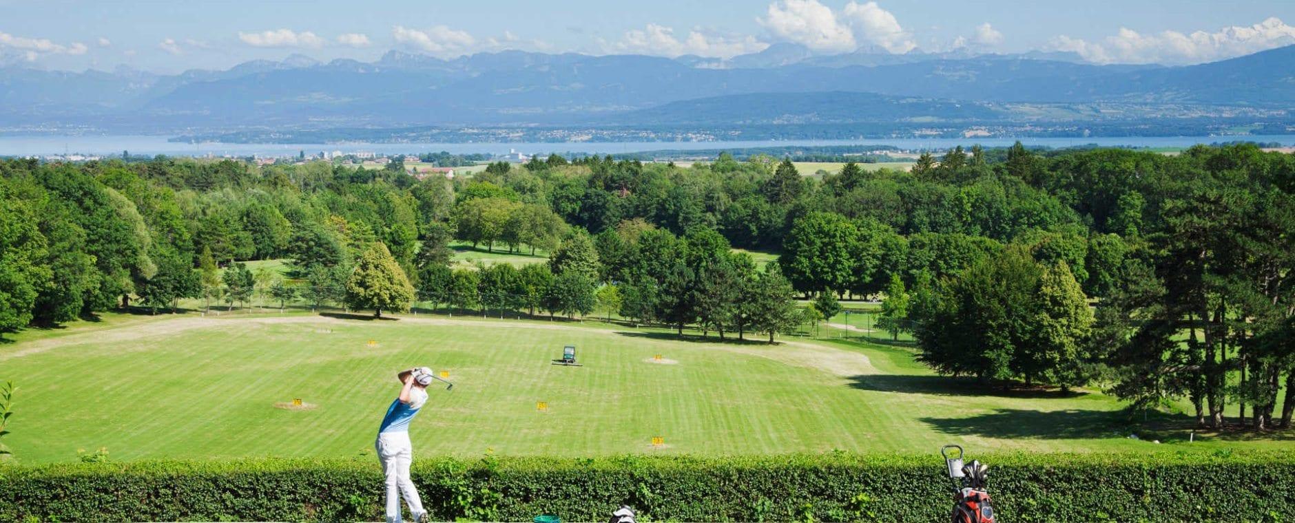 practice golf Bonmont vue Mont Blanc